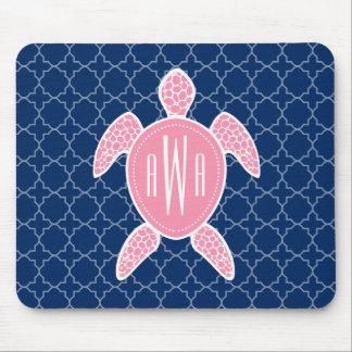 Monogrammed Pink Sea Turtle Blue Quatrefoil Mouse Mat