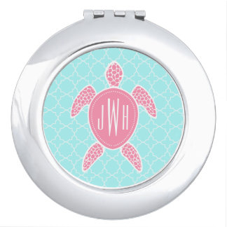 Monogrammed Pink Sea Turtle + Blue Quatrefoil Travel Mirrors