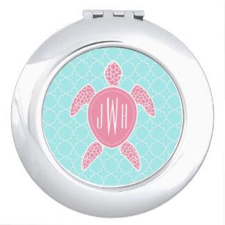 Monogrammed Pink Sea Turtle + Blue Quatrefoil Travel Mirrors