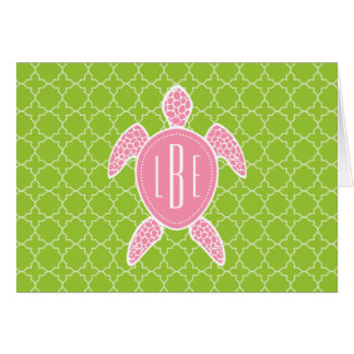 Monogrammed Pink Sea Turtle Green Quatrefoil Card