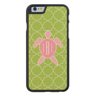 Monogrammed Pink Sea Turtle Green Quatrefoil Carved Maple iPhone 6 Case
