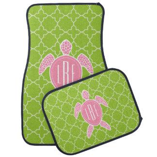Monogrammed Pink Sea Turtle Green Quatrefoil Floor Mat