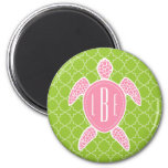 Monogrammed Pink Sea Turtle Green Quatrefoil 6 Cm Round Magnet