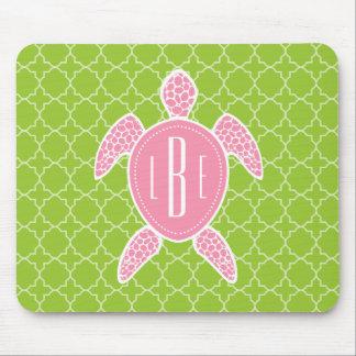 Monogrammed Pink Sea Turtle Green Quatrefoil Mouse Pad