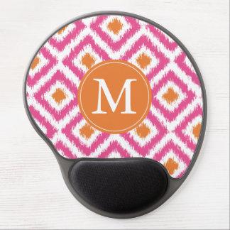 Monogrammed Pink Tangerine Diamond Ikat Pattern Gel Mouse Pad