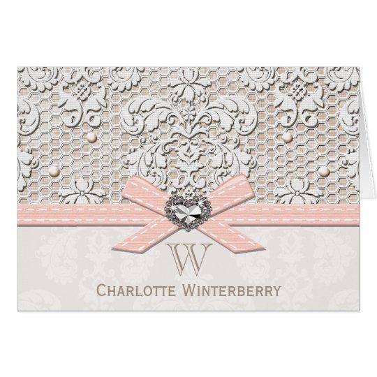 Monogrammed Pink Vintage Antique Lace Note Cards