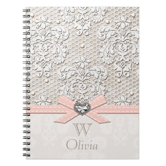 Monogrammed Pink Vintage Lace and Pearls Spiral Notebook