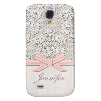 Monogrammed Pink Vintage Lace Galaxy S4 Cover