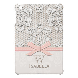 Monogrammed Pink Vintage Lace iPad Mini Cases