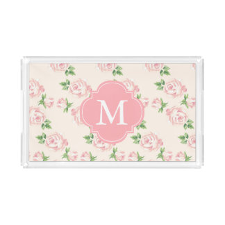 Monogrammed Pink Vintage Roses Pattern Acrylic Tray