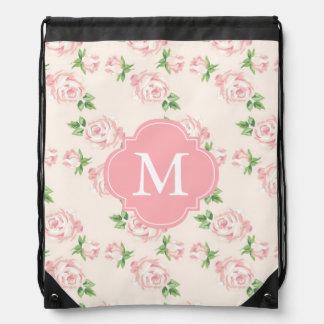 Monogrammed Pink Vintage Roses Pattern Drawstring Backpacks