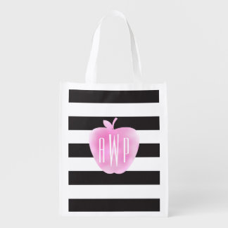 Monogrammed Pink Watercolor Apple + Stripes Reusable Grocery Bag