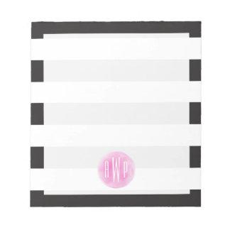 Monogrammed Pink Watercolor Black + White Stripes Memo Note Pad