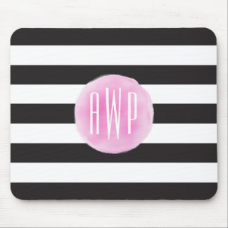 Monogrammed Pink Watercolor Black + White Stripes Mouse Pad