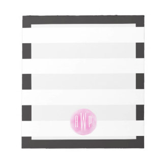 Monogrammed Pink Watercolor Black + White Stripes Note Pad