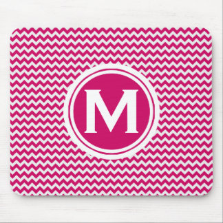 Monogrammed Pink Zigzag Pattern Mouse Pad