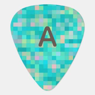 Monogrammed Pixel Art Multicolor Pattern Guitar Pick