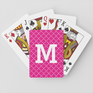 Monogrammed playing cards with quatrefoil pattern