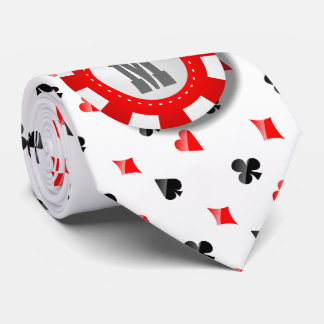 Monogrammed Poker Chip With Playing Cards Suits Tie