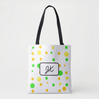 Monogrammed Polka Dot and Striped Green Yellow Bag