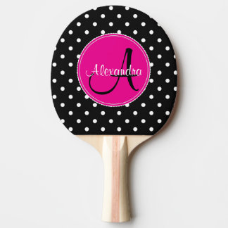 Monogrammed polka dot chic initial name black pink ping pong paddle