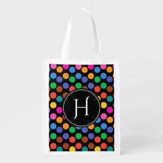 Monogrammed polka dot pattern in red blue black reusable grocery bag