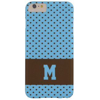 Monogrammed Polka Dots in Brown on Blue Barely There iPhone 6 Plus Case