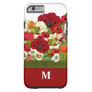 Monogrammed Poppy Garden in Red and Green Tough iPhone 6 Case