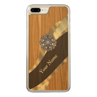 Monogrammed pretty faux pine wood carved iPhone 8 plus/7 plus case
