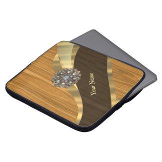Monogrammed pretty faux pine wood laptop sleeve