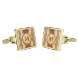 Monogrammed PRINTED faux wood Gold Finish Cufflinks