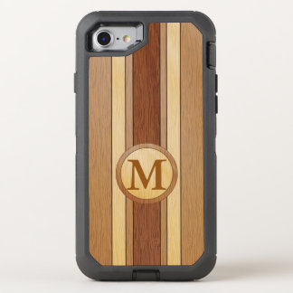 Monogrammed PRINTED faux wood OtterBox Defender iPhone 7 Case