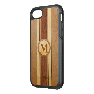 Monogrammed PRINTED faux wood OtterBox Symmetry iPhone 7 Case