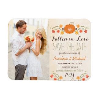 Monogrammed Pumpkin Fall Wedding Save the Date Rectangular Photo Magnet