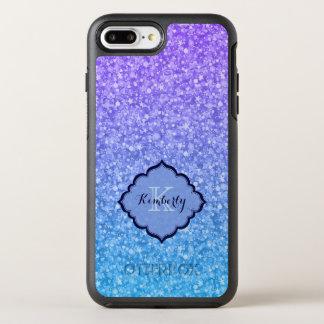 Monogrammed Purple And Blue Glitter OtterBox Symmetry iPhone 8 Plus/7 Plus Case