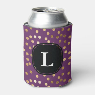 Monogrammed Purple and Gold Glitter Polka Dot