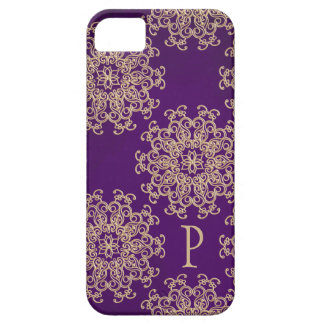 Monogrammed Purple and Gold Indian Pattern iPhone 5 Cases