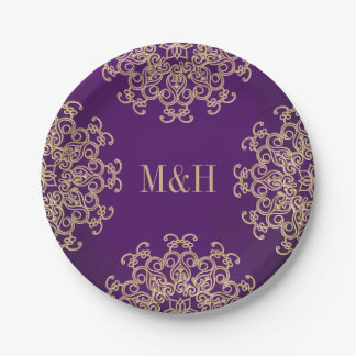 Monogrammed Purple and Gold Indian Style Wedding Paper Plate