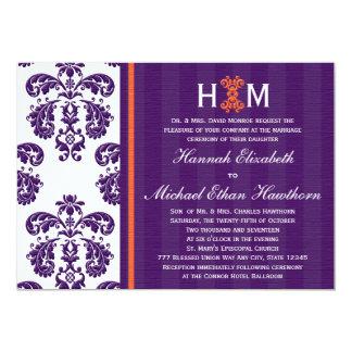 Monogrammed Purple and Orange Damask Wedding 13 Cm X 18 Cm Invitation Card