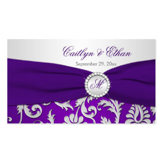 Monogrammed Purple and Silver Damask Favor Tag Business Cards