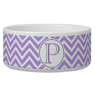 Monogrammed Purple and White Chevron Pet