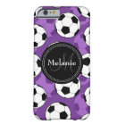 Monogrammed Purple Black Soccer Ball Pattern Barely There iPhone 6 Case