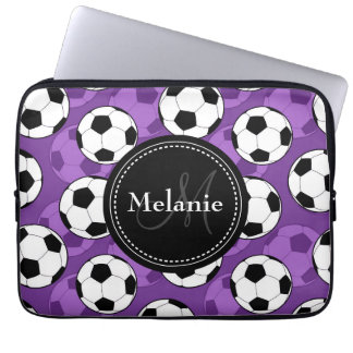 Monogrammed Purple Black Soccer Ball Pattern Laptop Sleeve
