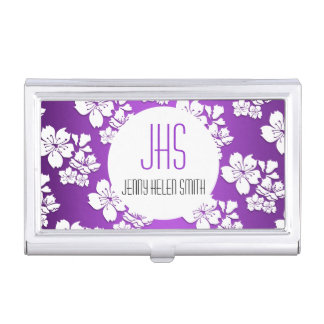 Monogrammed purple cherry blossom professional business card holder