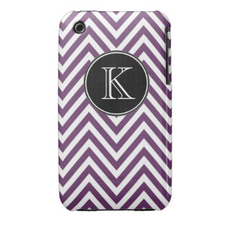 Monogrammed Purple Chevron Pattern iPhone 3 Cases