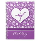 Monogrammed Purple Flowers Pattern Figure Skating Notebook