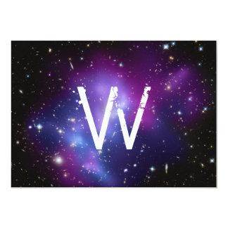Monogrammed Purple Galaxy Cluster 13 Cm X 18 Cm Invitation Card
