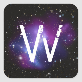 Monogrammed Purple Galaxy Cluster Square Sticker