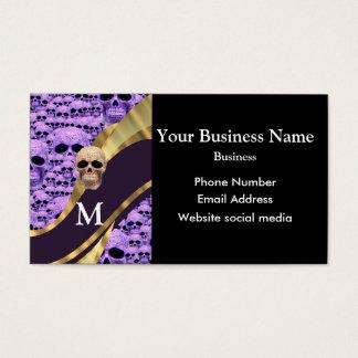 Monogrammed purple gothic skull pattern business card