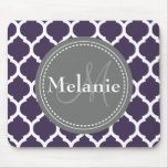 Monogrammed Purple & Grey Quatrefoil